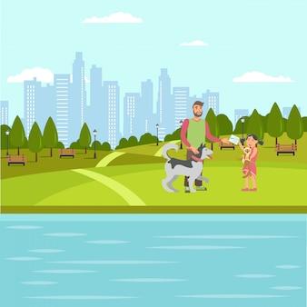 Illustrazione piana di colore di vettore della passeggiata degli amanti dell'animale domestico Vettore Premium