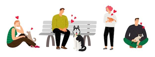 Proprietari di animali domestici. gente del fumetto con cani e gatti.