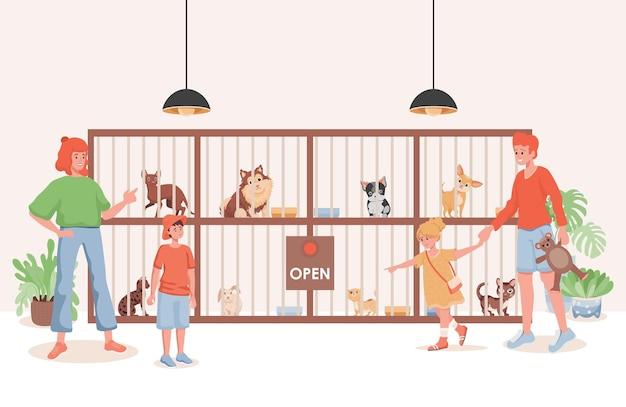 Illustrazione piana del rifugio per animali o del negozio di animali.