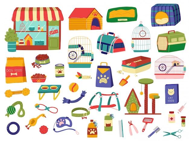 Assortimento del negozio di animali, prodotti per gli animali, insieme degli oggetti disegnati a mano su bianco, illustrazione