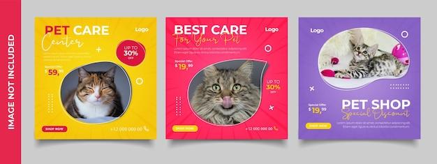 Banner del negozio di animali per il modello di post instagram sui social media