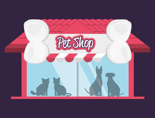 Facciata di costruzione di negozio di animali