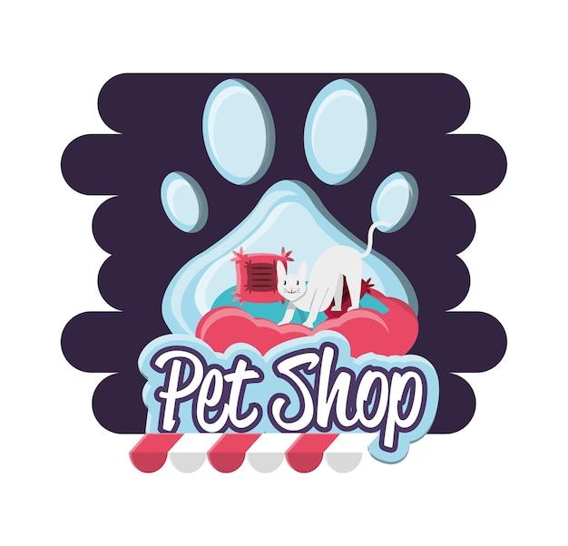 Gatto negozio di animali con cuscino