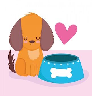 Negozio di animali, simpatico cagnolino con ciotola di cibo animale domestico del fumetto