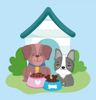 Negozio di animali, simpatici cagnolini con cibo e animali domestici dei cartoni animati domestici