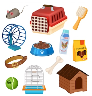 Icone del negozio di animali messe nello stile del fumetto Vettore Premium