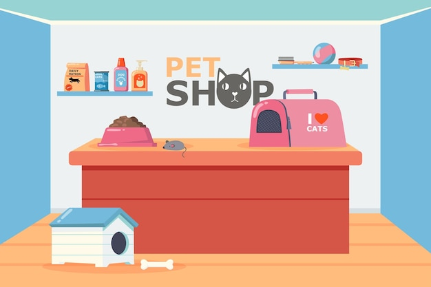 Interiore del negozio di animali con bancone e scaffali illustrazione