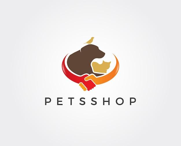 Modello di logo del negozio di animali