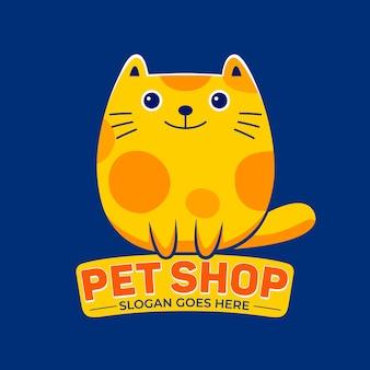 Fumetto della mascotte del negozio di animali in stile design piatto