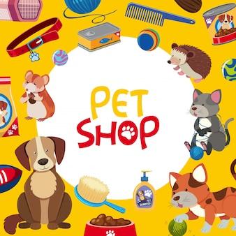 Poster design negozio di animali con molti animali domestici e accessori