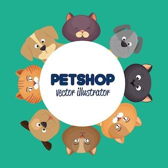 Poster del negozio di animali con gatti adorabili