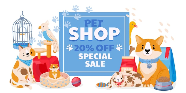 Banner di vendita del negozio di animali con animali domestici, cane e gatto. volantino del negozio zoo o buono sconto su accessori, giocattoli e forniture concetto vettoriale. mercato veterinario per pappagalli, criceti e conigli
