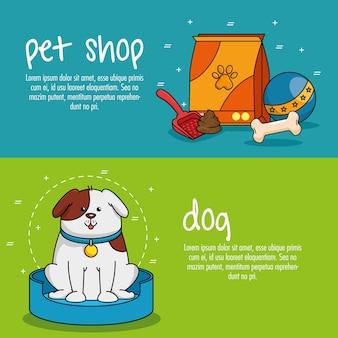 Icone set negozio di animali