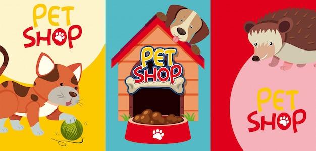 Segni di negozio di animali con molti animali domestici Vettore Premium