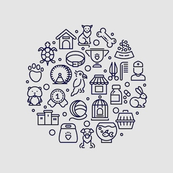Logo della clinica veterinaria e del negozio di animali isolato