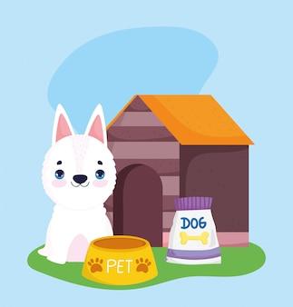 Negozio di animali, ciotola di cibo per cani bianco e cartone animato domestico di animali domestici
