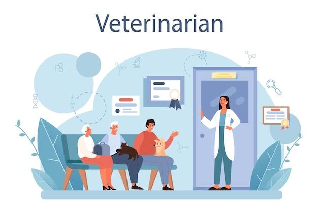 Veterinario per animali domestici concetto. medico veterinario che controlla e cura l'animale. idea di cura dell'animale domestico, vaccinazione medica degli animali, diagnosi. illustrazione piatta vettoriale