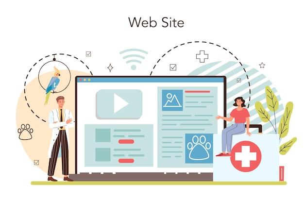 Servizio o piattaforma online di veterinari per animali domestici. medico veterinario che controlla animale. cure mediche e vaccinazioni. sito web. illustrazione piatta vettoriale