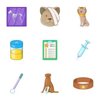 Icone della clinica veterinaria dell'animale domestico messe, stile del fumetto Vettore Premium