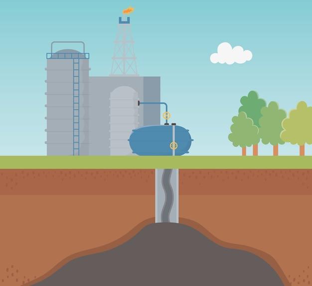 Fracking di esplorazione dei processi dell'industria petrolchimica