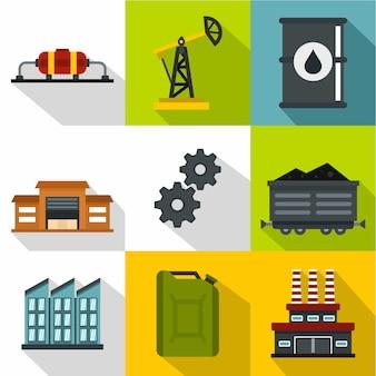 Set di icone di petrolio, stile piano