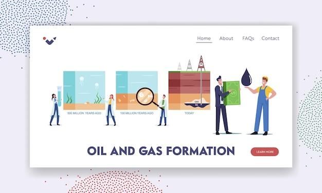 Modello di pagina di destinazione per la formazione di petrolio e gas. personaggi di scienziati che presentano una linea temporale di sedimenti organici di combustibili fossili su strati geologici del fondale oceanico. illustrazione di vettore della gente del fumetto.