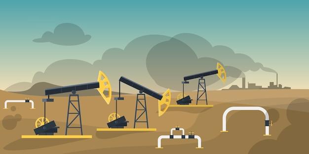 Concetto di industria di produzione di petrolio. costruzione di torri petrolifere