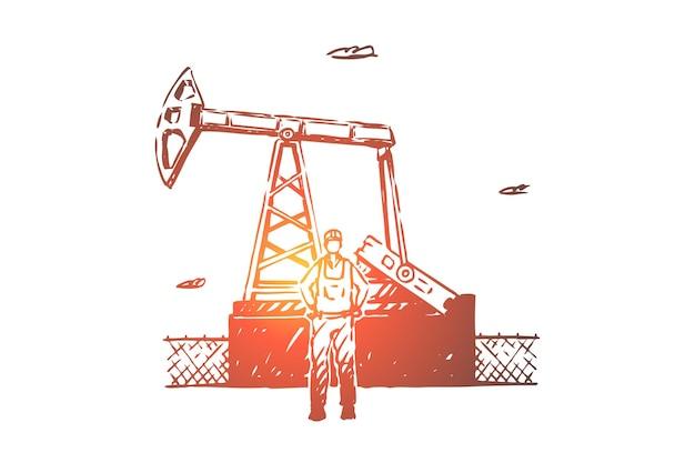 Impiegato di raffineria di petrolio, illustrazione di affari di data mining di risorse
