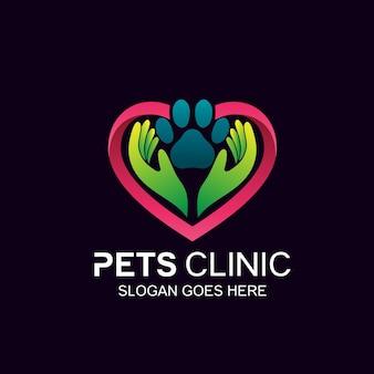 Design del logo della clinica per animali e animali domestici