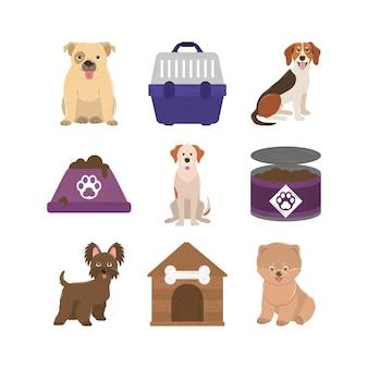 Animali domestici, cani cibo in scatola ciotola gabbia e icone della casa