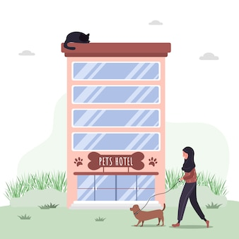 Hotel per animali domestici. servizi ospedalieri veterinari e alberghi per animali domestici. centro di toelettatura e controllo sanitario dei cani.