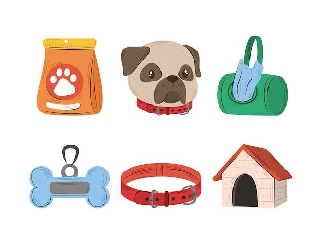 Set di icone di animali domestici, collare di cibo per cani e illustrazione di stile piatto casa
