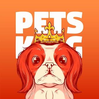 Re degli animali domestici, illustrazione vettoriale di una simpatica testa di cane con corona vintage a fumetti, adatta per logo, biglietti d'invito, biglietti di auguri e prodotti stampabili, ecc.