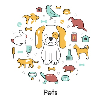 Animali domestici linea arte icone vettoriali sottili