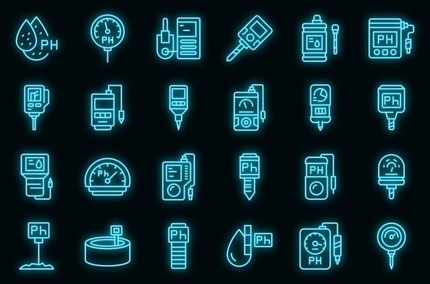 Ph metro set di icone. delineare l'insieme delle icone vettoriali del misuratore di ph colore neon su nero