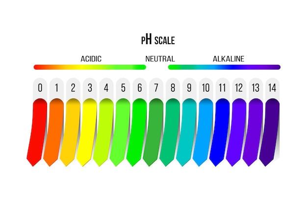 Scala ph. indicatore di acidità, alcalinità e soluzione neutra. diagramma per analisi, test e infografica.