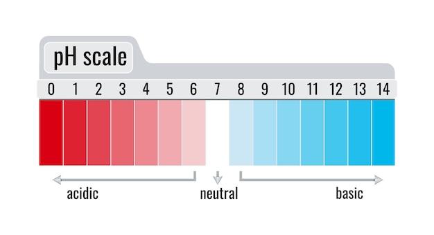 Misuratore del grafico della scala del valore del ph per soluzioni acide e basiche isolate su sfondo bianco.