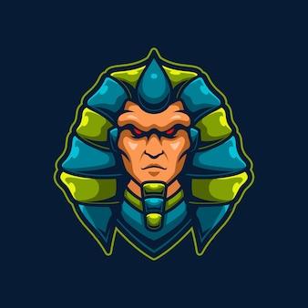 Modello di logo di gioco mascotte faraone e-sport