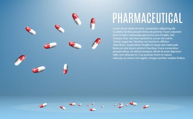 Illustrazione farmaceutica di pillole che volano fuori da una bottiglia su uno sfondo trasparente.