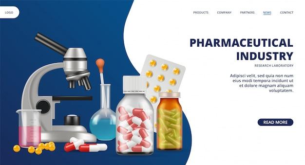 Pagina di destinazione dell'industria farmaceutica. medicina, banner web di laboratorio di ricerca. pillole realistiche e attrezzature di laboratorio