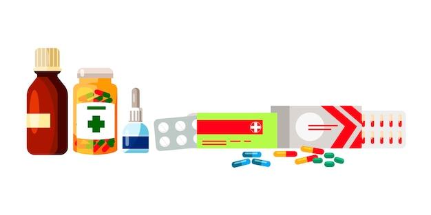 Gocce di compresse di sciroppo farmaceutico per set di pillole e compresse di bottiglie di plastica e vetro di trattamento