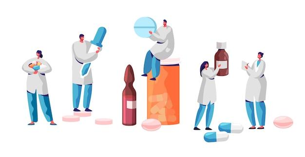 Set di farmacista carattere medicina farmaco store. persone professionali del settore farmaceutico. sfondo infografica assistenza sanitaria online. illustrazione piana di vettore del fumetto di sanità della bottiglia e della pillola