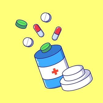 Bottiglie di giorno del farmacista dell'illustrazione piana della droga. farmacia e medicina icona concetto isolato.