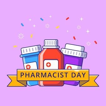 Nastro del giorno del farmacista con bottiglie di medicinali