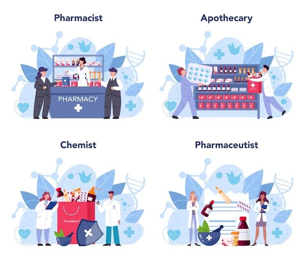 Farmacista che tiene una borsa con il farmaco della farmacia in bottiglia e scatola per il trattamento della malattia