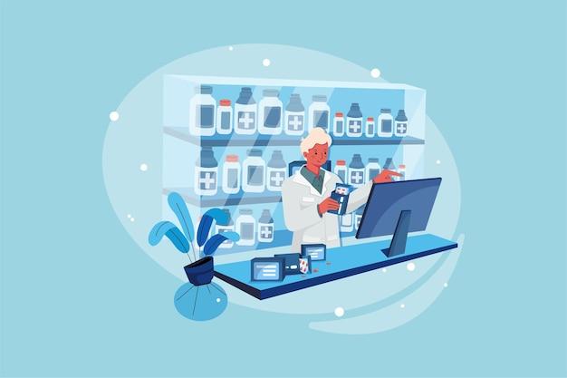 Un farmacista con in mano un pacchetto di capsule e un touch pad per la barra di ricerca