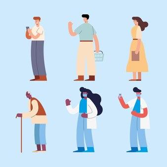 Il farmacista e le persone in piedi personaggi