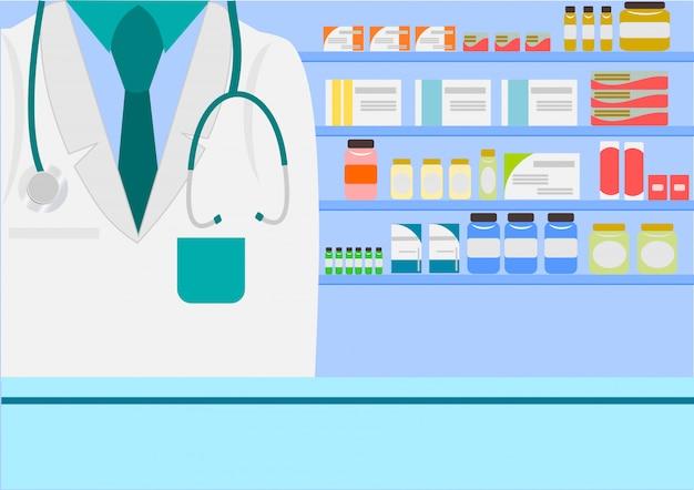 Farmacista in farmacia o in farmacia con vitamine di bottiglie di pillole di pillole di medicina