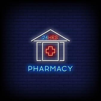 Testo di stile di insegne al neon di farmacia 24 ore