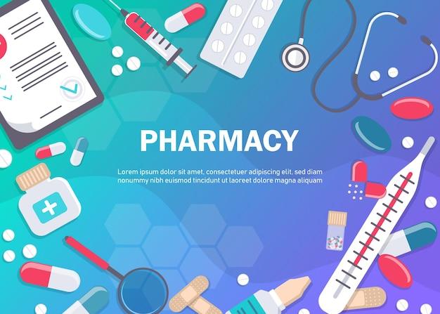 Sfondo farmacia con dispositivi medici e pillole